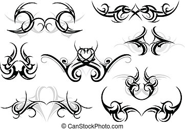 Tribal tattoo set - Set of various tattoo shapes with tribal...