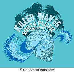 tribal tattoo skull and wave vector art