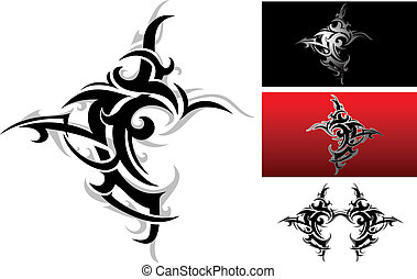 Vector illustration of elegant tribal tattoo