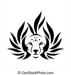 tribal tattoo viking tiger head illustration and vector logo
