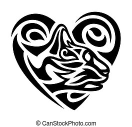 Tribal tattoo with black cat in the heart shape