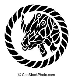 Tribal tattoo with black taurus head in the circle