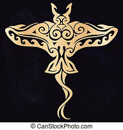 Tribal tattoo with decorative sea Stingray with ethnic pattern. Authentic artwork with a symbol of the totem. Vector Graphics clipart Tattoos like Maui from Moana cartoon.