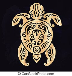 Tribal tattoo with decorative sea turtle with ethnic pattern. Authentic artwork with a symbol of the totem. Vector Graphics clipart Tattoos like Maui from Moana cartoon.