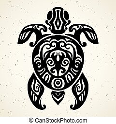 Tribal tattoo with decorative sea turtle with ethnic pattern. Authentic artwork with a symbol of the totem. Stock Vector Graphics Tattoos like Maui from Moana cartoon.
