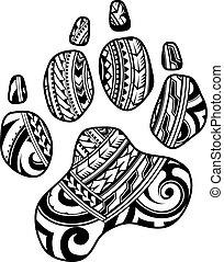 Tribal tattoo with dog paw