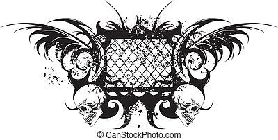 tribal tattoo with skulls