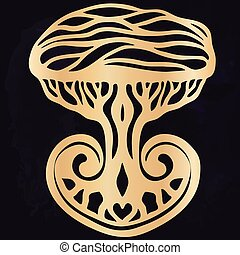 Tribal tattoo with the ethnic tree. Authentic artwork with a symbol of the totem. Vector Graphics clipart Tattoos like Maui