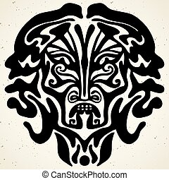 Tribal tattoo with the god mask. Authentic artwork with a symbol of the totem. Vector Graphics clipart Tattoos like Maui
