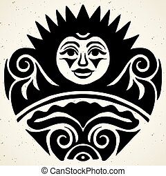 Tribal tattoo with the sun. Authentic artwork with a symbol of the totem. Vector Graphics clipart Tattoos like Maui