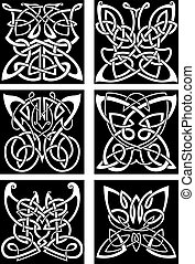 Tribal tattoos with celtic ornamental butterflies