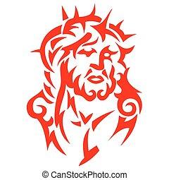 tribal, tatuaje, jesucristo