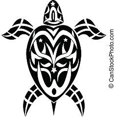 tribal, tatuaje, tortuga