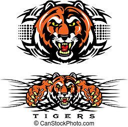 Tiger Face Tribal Tattoo Illustration