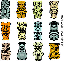 tribal, totens, máscaras, étnico