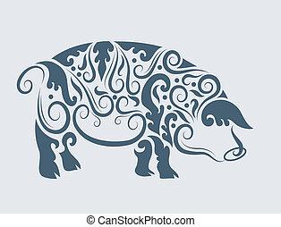 tribal, vecteur, conception, cochon