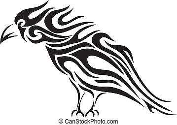 tribal, -, vecteur, tatouage, corbeau