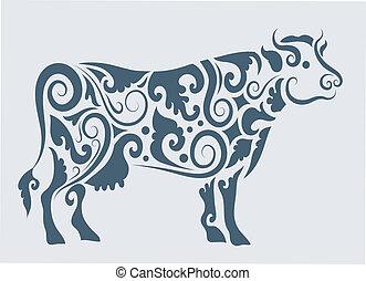 tribal, vector, diseño, vaca