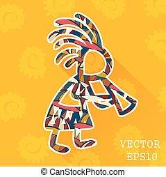 tribal, vector, man., africano