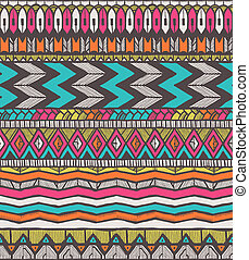 Tribal vector pattern. Seamless hand-drawn background. EPS...