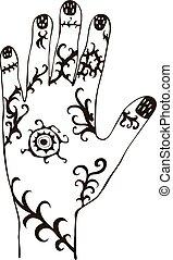 tribal, vetorial, ornamento, ilustração, mão