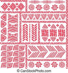 tribal, vindima, étnico, padrão, seamless