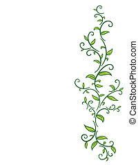 Tribal Vine with Leaves - Tribal drawing of green vines with...