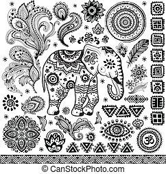Tribal vintage ethnic pattern set illustration for your ...