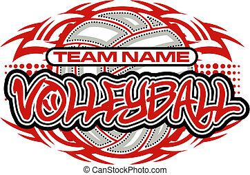 tribal, voleibol, diseño