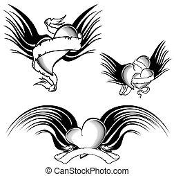 tribal winged tattoo heart pack