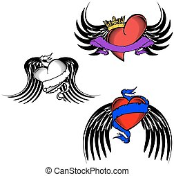 tribal winged tattoo heart
