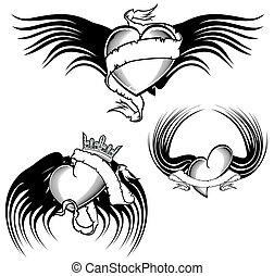 tribal winged tattoo heart set