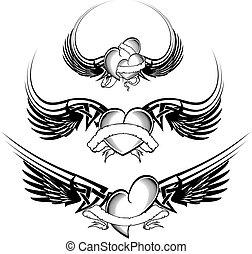 tribal winged tattoo heart set12