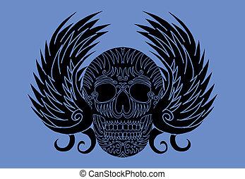 tribal wings and skull vector art
