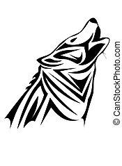 Tribal wolf - A tribal wolf tattoo in black
