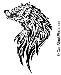 Tribal wolf head