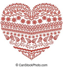 Tribal zentangle Aztec heart shape
