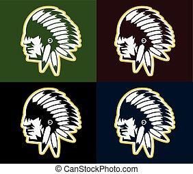 tribale, capo, americano, nativo, acconciatura, uomo