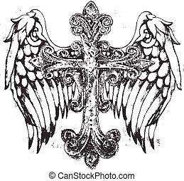 tribale, croce, con, ala