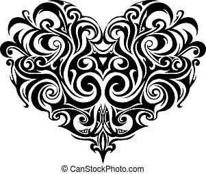 tribale, cuore, tatuaggio