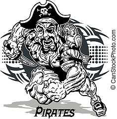 tribale, disegno, pirata