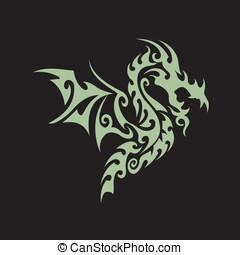 tribale, drago, tatuaggio, arte