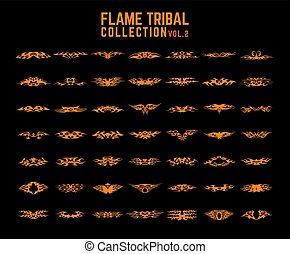 tribale, set, fiamme, collezione