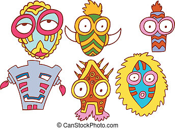 tribale, set, maschera