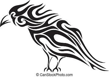 tribale, -, vettore, tatuaggio, corvino