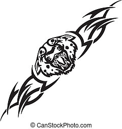 tribals, -, wektor, jaguar, illustration.
