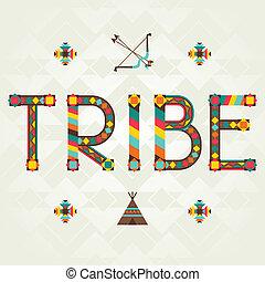 tribe., desenho, palavra, com, ornament.