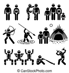 A set of human pictogram representing the culture and tradition of indigenous aboriginal people. Includes body painting, hunting tools and equipment, tent, dancing, and music equipment.