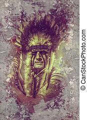 tribe., tomahawk, 責任者, アメリカインディアン, 戦士, 羽, 頭飾り, 人
