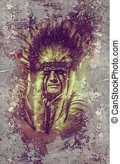 tribe., tomahawk, oberhaupt, indianer, krieger, feder,...